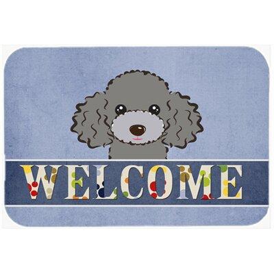 "Poodle Welcome Kitchen/Bath Mat Color: Silver/Gray, Size: 24"" W x 36"" L"