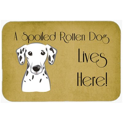 "Dalmatian Spoiled Dog Lives Here Kitchen/Bath Mat Size: 20"" W x 30"" L"