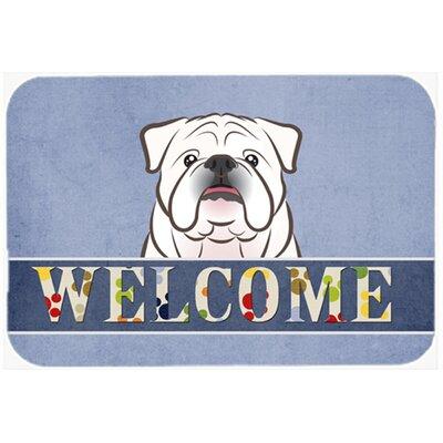 "English Bulldog Welcome Kitchen/Bath Mat Color: White, Size: 24"" W x 36"" L"