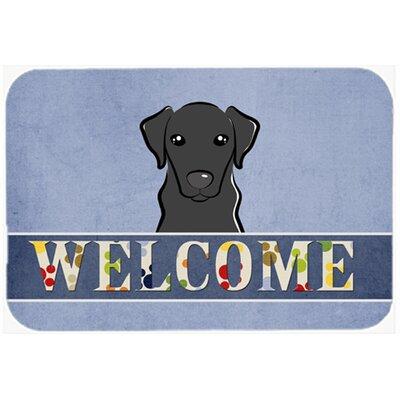 "Labrador Welcome Kitchen/Bath Mat Size: 20"" W x 30"" L, Color: Black"
