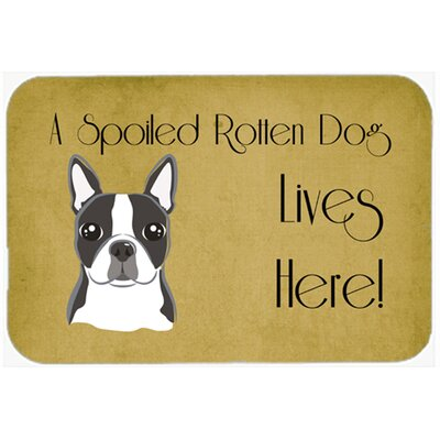 "Boston Terrier Spoiled Dog Lives Here Kitchen/Bath Mat Size: 20"" W x 30"" L"