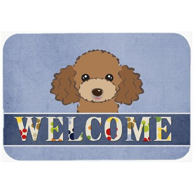 """Poodle Welcome Kitchen/Bath Mat Color: Chocolate/Brown, Size: 24"""" W x 36"""" L"""