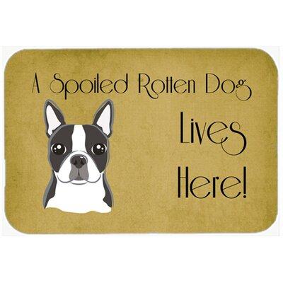 "Boston Terrier Spoiled Dog Lives Here Kitchen/Bath Mat Size: 24"" W x 36"" L"