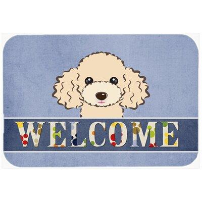 """Poodle Welcome Kitchen/Bath Mat Color: Buff, Size: 24"""" W x 36"""" L"""