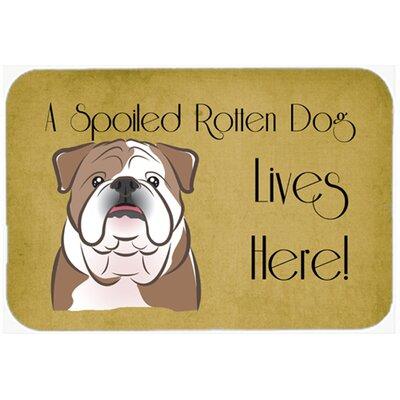 "English Bulldog Spoiled Dog Lives Here Kitchen/Bath Mat Color: Brown, Size: 24"" W x 36"" L"