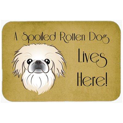 "Pekingese Spoiled Dog Lives Here Kitchen/Bath Mat Size: 24"" W x 36"" L"