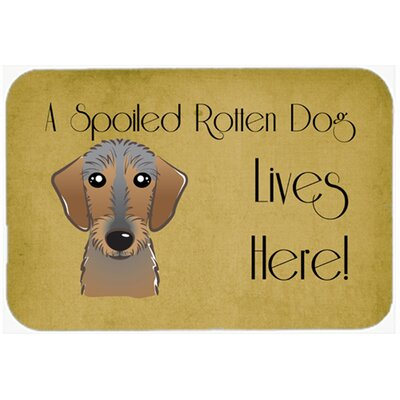 "Wirehaired Dachshund Spoiled Dog Lives Here Kitchen/Bath Mat Size: 24"" W x 36"" L"