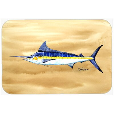 "Swordfish on Sandy Beach Kitchen/Bath Mat Size: 24"" W x 36"" L"