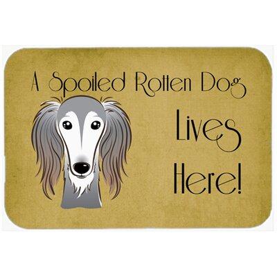 """Saluki Spoiled Dog Lives Here Kitchen/Bath Mat Size: 24"""" W x 36"""" L"""