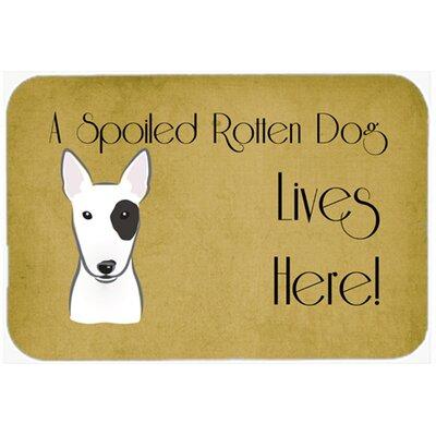 "Bull Terrier Spoiled Dog Lives Here Kitchen/Bath Mat Size: 24"" W x 36"" L"