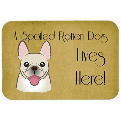 "French Bulldog Spoiled Dog Lives Here Kitchen/Bath Mat Size: 24"" W x 36"" L"