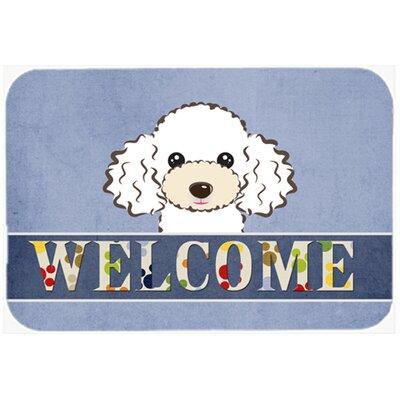 "Poodle Welcome Kitchen/Bath Mat Color: White, Size: 24"" W x 36"" L"