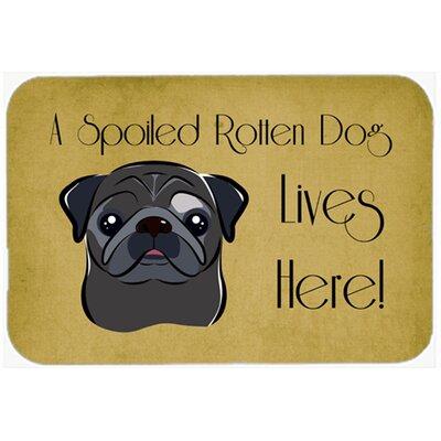 "Pug Spoiled Dog Lives Here Kitchen/Bath Mat Size: 20"" W x 30"" L, Color: Black"