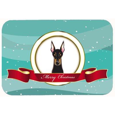 """Doberman Merry Christmas Kitchen/Bath Mat Size: 24"""" W x 36"""" L"""