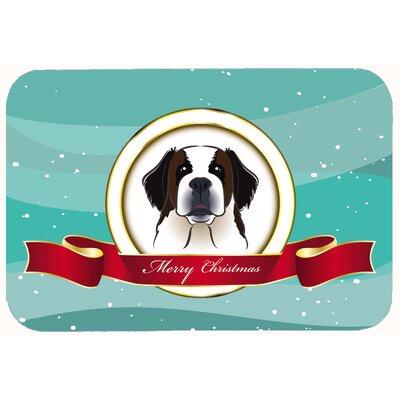 "Saint Bernard Merry Christmas Kitchen/Bath Mat Size: 20"" W x 30"" L"