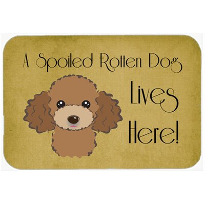 """Poodle Spoiled Dog Lives Here Kitchen/Bath Mat Color: Chocolate/Brown, Size: 24"""" W x 36"""" L"""