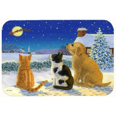 "Retriever and Kittens Watching Santa Kitchen/Bath Mat Size: 24"" W x 36"" L"