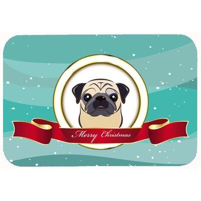 "Pug Merry Christmas Kitchen/Bath Mat Size: 24"" W x 36"" L, Color: Fawn"