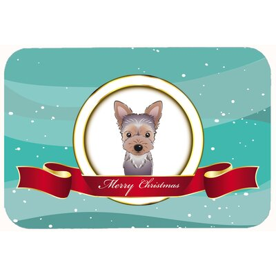 "Yorkie Puppy Merry Christmas Kitchen/Bath Mat Size: 20"" W x 30"" L"