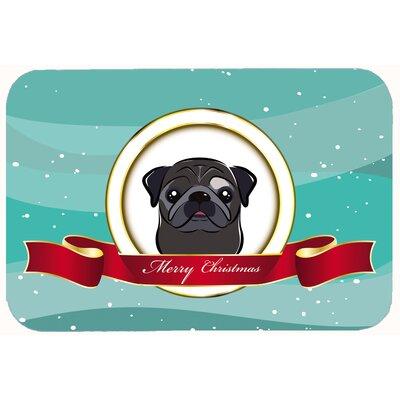 """Pug Merry Christmas Kitchen/Bath Mat Size: 24"""" W x 36"""" L, Color: Black"""