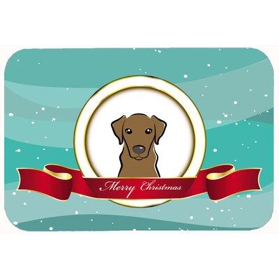 "Labrador Merry Christmas Kitchen/Bath Mat Size: 20"" W x 30"" L, Color: Chocolate"
