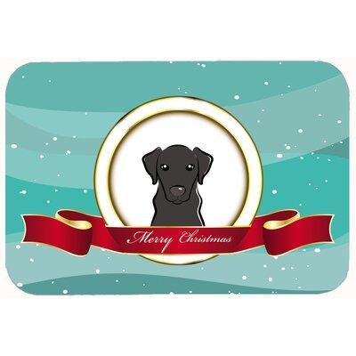 "Labrador Merry Christmas Kitchen/Bath Mat Size: 24"" W x 36"" L, Color: Black"