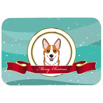 """Corgi Merry Christmas Kitchen/Bath Mat Size: 20"""" W x 30"""" L, Color: Brown"""