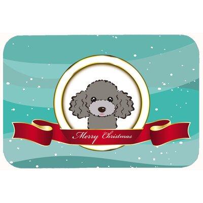 "Poodle Merry Christmas Kitchen/Bath Mat Color: Silver/Gray, Size: 20"" W x 30"" L"