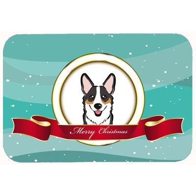 "Corgi Merry Christmas Kitchen/Bath Mat Size: 20"" W x 30"" L, Color: Sable"