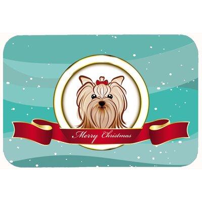 "Yorkie Yorkshire Terrier Merry Christmas Kitchen/Bath Mat Size: 20"" W x 30"" L"