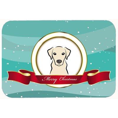 "Labrador Merry Christmas Kitchen/Bath Mat Size: 24"" W x 36"" L, Color: Cream"