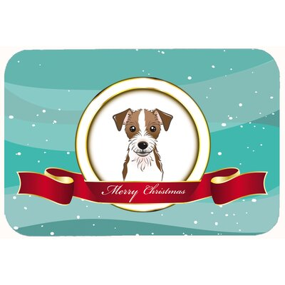 "Jack Russell Terrier Merry Christmas Kitchen/Bath Mat Size: 24"" W x 36"" L"