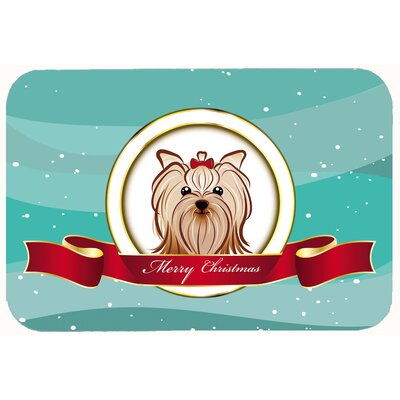 "Yorkie Yorkshire Terrier Merry Christmas Kitchen/Bath Mat Size: 24"" W x 36"" L"