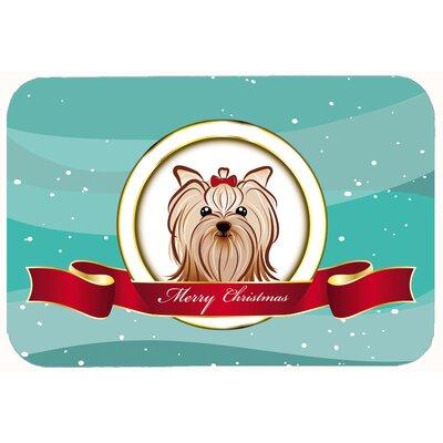 "Yorkie Yorkshire Terrier Merry Christmas Kitchen/Bath Mat Size: 24"" W x 36"" L"