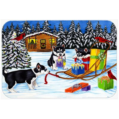 "Christmas Mush Siberian Husky Kitchen/Bath Mat Size: 20"" W x 30"" L"