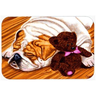 """English Bulldog and Teddy Bear Kitchen/Bath Mat Size: 20"""" W x 30"""" L"""