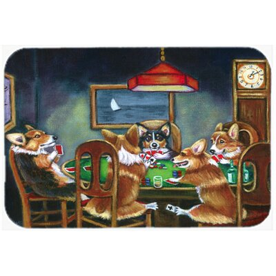"Corgi Playing Poker Kitchen/Bath Mat Size: 20"" W x 30"" L"