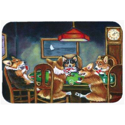 """Corgi Playing Poker Kitchen/Bath Mat Size: 20"""" W x 30"""" L"""