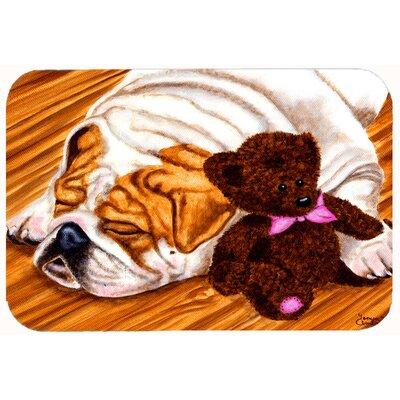 """English Bulldog and Teddy Bear Kitchen/Bath Mat Size: 24"""" W x 36"""" L"""