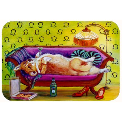 "Corgi Home Alone Kitchen/Bath Mat Size: 24"" W x 36"" L"