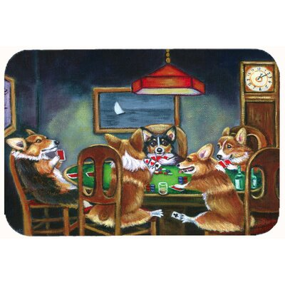 "Corgi Playing Poker Kitchen/Bath Mat Size: 24"" W x 36"" L"