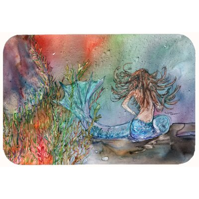 "Brunette Mermaid Water Fantasy Kitchen/Bath Mat Size: 24"" W x 36"" L"