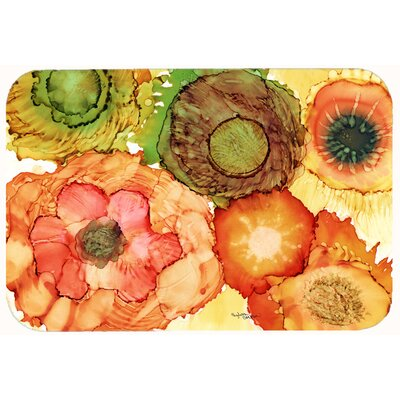 "Abstract Flowers Blossoms Kitchen/Bath Mat Size: 24"" W x 36"" L"