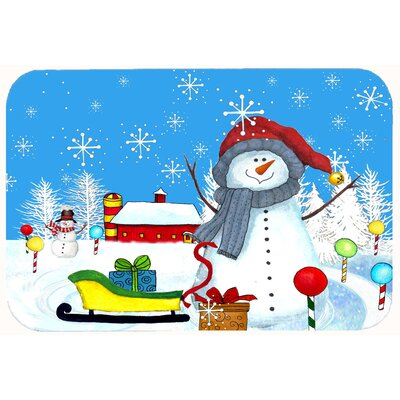 "Snow Happens in the Meadow Snowman Kitchen/Bath Mat Size: 24"" W x 36"" L"