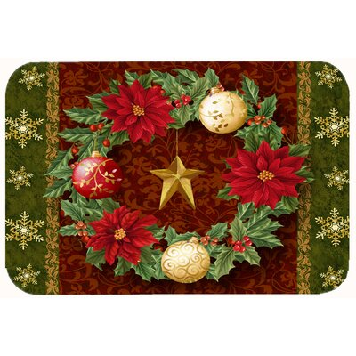 """Holly Wreath with Christmas Ornaments Kitchen/Bath Mat Size: 20"""" W x 30"""" L"""
