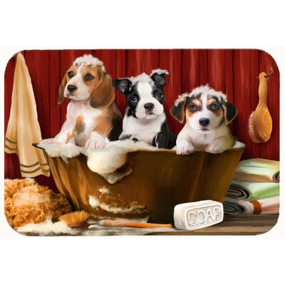 """Beagle, Boston Terrier, and Jack Russell in the Tub Kitchen/Bath Mat Size: 24"""" W x 36"""" L"""