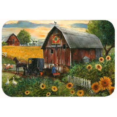 "Landon Sunflower Country Paradise Barn Kitchen/Bath Mat Size: 24"" W x 36"" L"