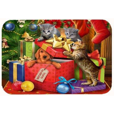 "Kittens Return Puppy to Santa Claus Kitchen/Bath Mat Size: 24"" W x 36"" L"