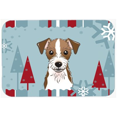 "Red/Blue Jack Russell Terrier Kitchen/Bath Mat Size: 24"" W x 36"" L"