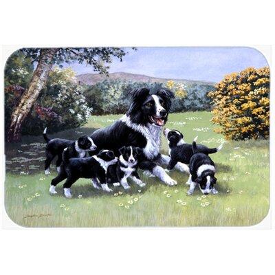 "Border Collie Puppies with Momma Kitchen/Bath Mat Size: 20"" W x 30"" L"